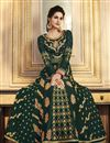picture of Art Silk Function Wear Dark Green Embroidered Traditional Anarkali Suit