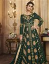 image of Art Silk Function Wear Dark Green Embroidered Traditional Anarkali Suit