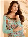 photo of Art Silk Fabric Classy Party Wear Printed Embroidered Cyan Color Palazzo Dress