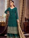 image of Teal Color Embroidered Palazzo Salwar Kameez In Georgette Fabric