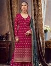 image of Georgette Fabric Party Wear Palazzo Salwar Suit In Dark Pink Color With Embroidery Work