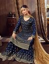 photo of Navy Blue Color Georgette Fabric Function Wear Embroidered Palazzo Suit