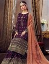 photo of Georgette Fabric Purple Color Palazzo Suit With Embroidery Work