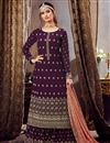 image of Georgette Fabric Purple Color Palazzo Suit With Embroidery Work