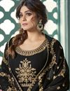 photo of Shamita Shetty Party Wear Black Color Long Length Georgette Embroidered Anarkali Suit