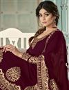 photo of Shamita Shetty Party Wear Embroidered Maroon Color Floor Length Anarkali Dress In Georgette