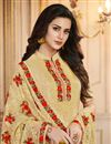 photo of Designer Straight Cut Salwar Suit In Light Yellow Art Silk With Embroidered Work