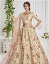 image of Beige Color Sangeet Wear Embroidered Art Silk Fabric Lehenga