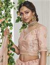 photo of Sangeet Wear Art Silk Fabric Peach Color Embroidered Lehenga Choli