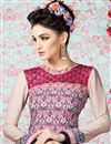 photo of Pink-Cream Long Length Crepe Salwar Kameez-3201