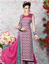 image of Pink-Cream Long Length Crepe Salwar Kameez-3201