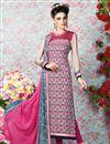 image of Pink-Cream Long Length Crepe Salwar Kameez-3201
