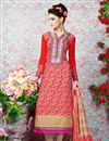 image of Red Straight Cut Crepe Salwar Kameez-3202