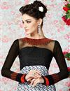 photo of White-Black Long Length Crepe Salwar Kameez-3204