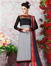 image of White-Black Long Length Crepe Salwar Kameez-3204