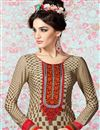 photo of Beige Straight Cut Crepe Salwar Kameez-3205
