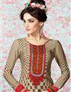 photo of Beige Straight Cut Crepe Salwar Kameez-3205