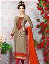 image of Beige Straight Cut Crepe Salwar Kameez-3205