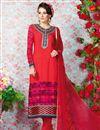 image of Red Party Wear Crepe Salwar Kameez-3206