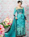 image of Sky Blue Straight Cut Crepe Salwar Kameez-3208