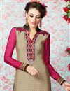 photo of Beige Straight Cut Crepe Salwar Kameez-3211