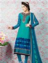 image of Sky Blue Party Wear Crepe Salwar Kameez-3212