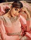 photo of Peach Color Sangeet Wear Floor Length Embroidered Anarkali Dress In Art Silk Fabric