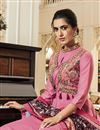 photo of Party Style Designer Pink Embroidered Fancy Fabric Readymade Palazzo Suit