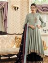 image of Designer Party Style Readymade Embroidered Palazzo Suit In Grey Fancy Fabric