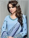 photo of Function Wear Banarasi Silk Embroidered Readymade Palazzo Suit In Sky Blue