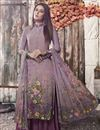 image of Crepe Fabric Casual Style Fancy Printed Palazzo Dress In Lavender Color