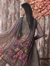 photo of Dark Beige Fancy Printed Casual Style Palazzo Dress In Crepe Fabric