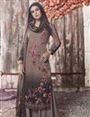 image of Dark Beige Fancy Printed Casual Style Palazzo Dress In Crepe Fabric
