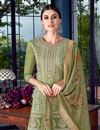 photo of Comforting Art Silk Fabric Green Designer Palazzo Salwar Suit With Embroidery