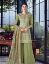 image of Comforting Art Silk Fabric Green Designer Palazzo Salwar Suit With Embroidery
