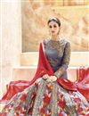 picture of Long Length Grey Color Anarkali Fancy Salwar Kameez
