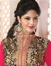 photo of Georgette Fabric Embroidered Party Wear Beige And Pink Color Salwar Suit