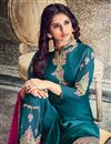 photo of Party Wear Georgette Embroidery Work On Straight Cut Salwar Kameez In Teal