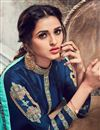 photo of Embroidery Work On Georgette Navy Blue Color Designer Straight Cut Salwar Suit