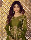 photo of Shamita Shetty Function Wear Designer Sharara Top Lehenga In Mehendi Green Art Silk