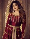 photo of Shamita Shetty Embroidered Designer Sharara Top Lehenga In Maroon Art Silk