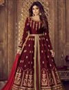 image of Shamita Shetty Embroidered Designer Sharara Top Lehenga In Maroon Art Silk