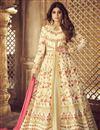image of Shamita Shetty Function Wear Designer Sharara Top Lehenga In Beige Art Silk