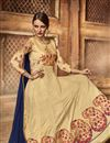 picture of Party Wear Silk Fabric Anarkali Salwar Suit in Cream Color