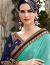photo of Georgette Party Wear Designer Cyan And Off White Color Saree With Unstitched Blouse