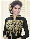 photo of Black Straight Cut Chanderi Salwar Kameez-4011