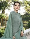 photo of Georgette Fabric Party Style Designer Embroidered Grey Color Palazzo Dress