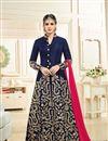 image of Embroidered Art Silk Navy Blue Designer Anarkali Salwar Kameez