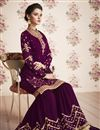 photo of Designer Georgette Party Wear Purple Sharara Suit With Embroidery