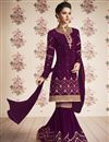 image of Designer Georgette Party Wear Purple Sharara Suit With Embroidery